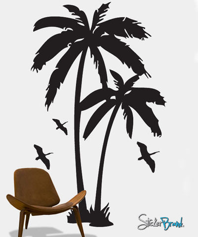 Vinyl Wall Art Decal Sticker Palm Tree & Birds #134