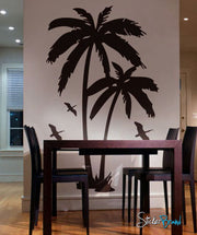 Palm Tree with Birds Vinyl Wall Art Decal Sticker. #134