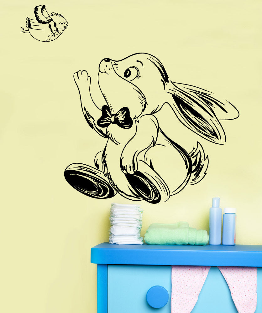 Vinyl Wall Decal Sticker Happy Bunny and Bird #1351