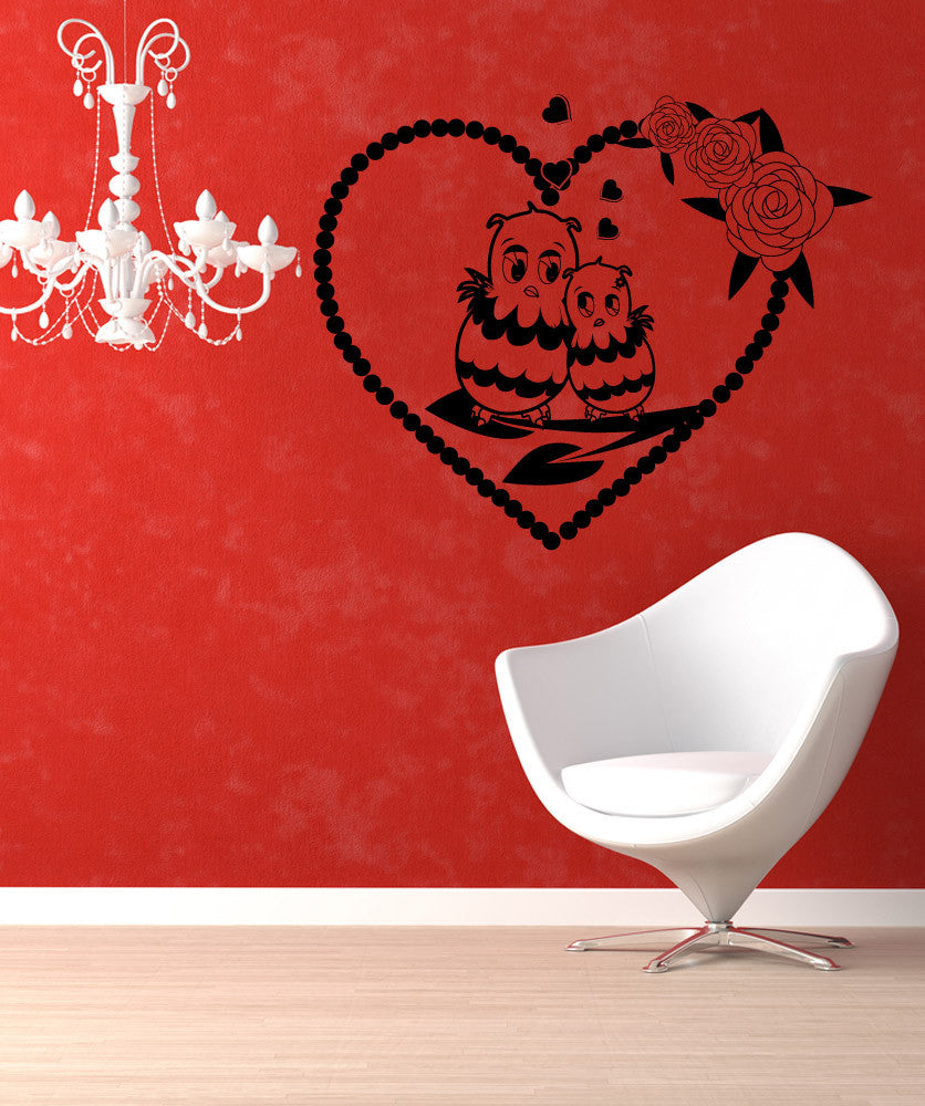 Vinyl Wall Decal Sticker Owl Love #1353