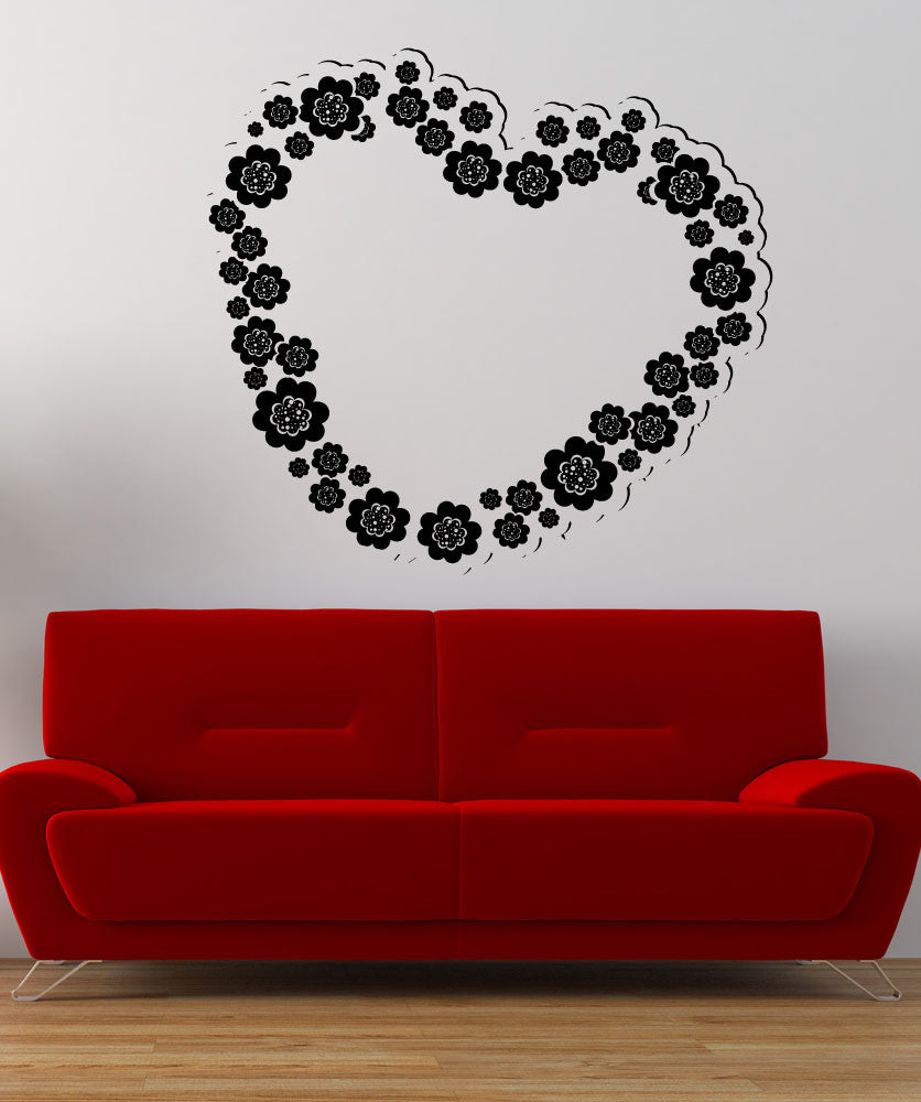 Vinyl Wall Decal Sticker Heart Flower Bouquet #1354