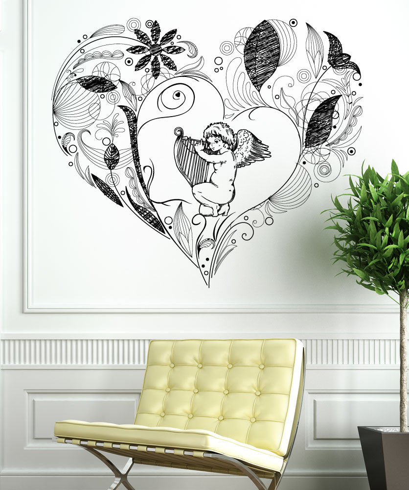 Vinyl Wall Decal Sticker Cupid Heart #1355