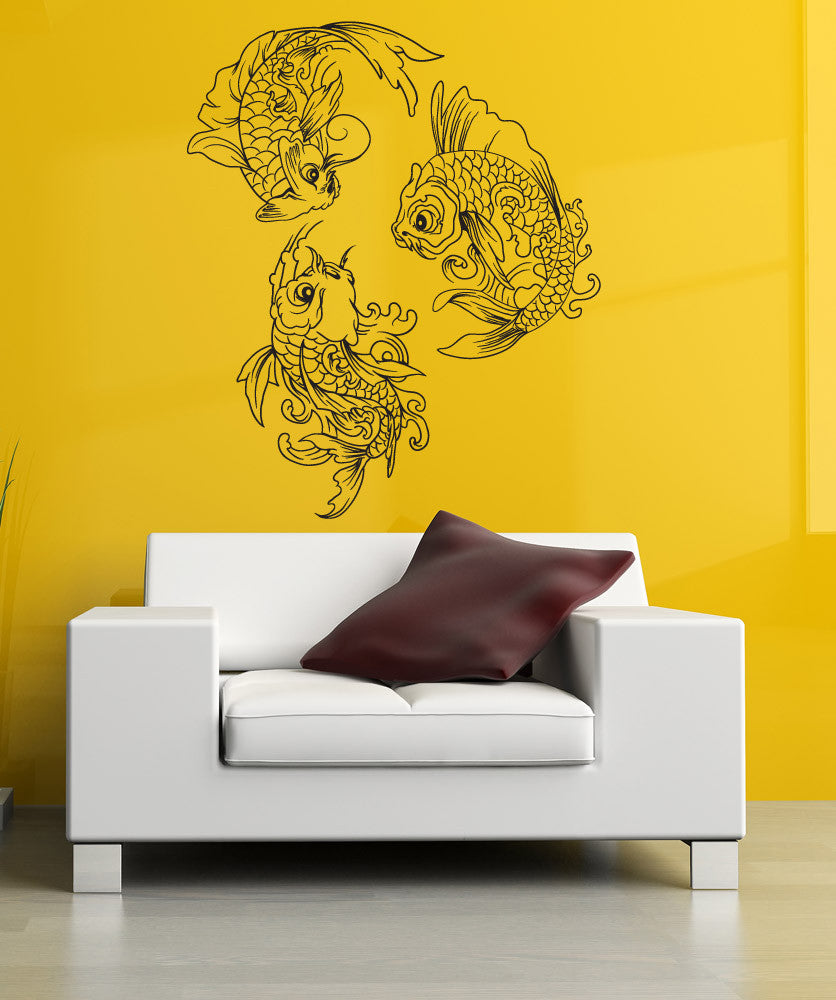 Vinyl wall decal sticker koi fish trio 1363 for Koi fish wall stickers