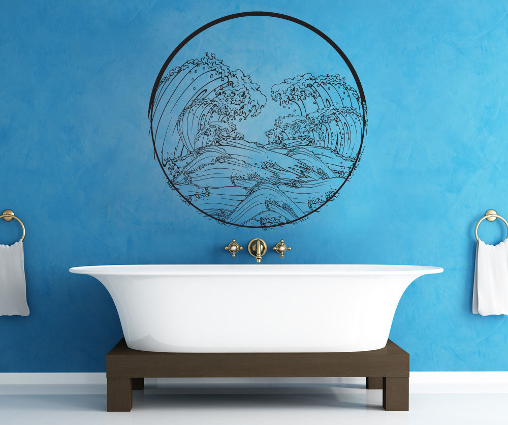 Vinyl wall decal sticker japanese wave circle 1364 amipublicfo Image collections