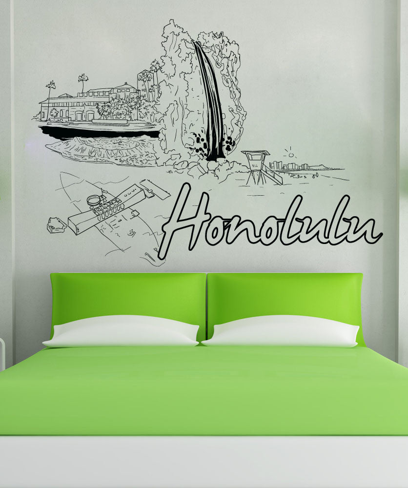 Vinyl Wall Decal Sticker Honolulu #1423