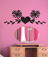 Vinyl Wall Decal Sticker Heart With Vines and Flowers #1436