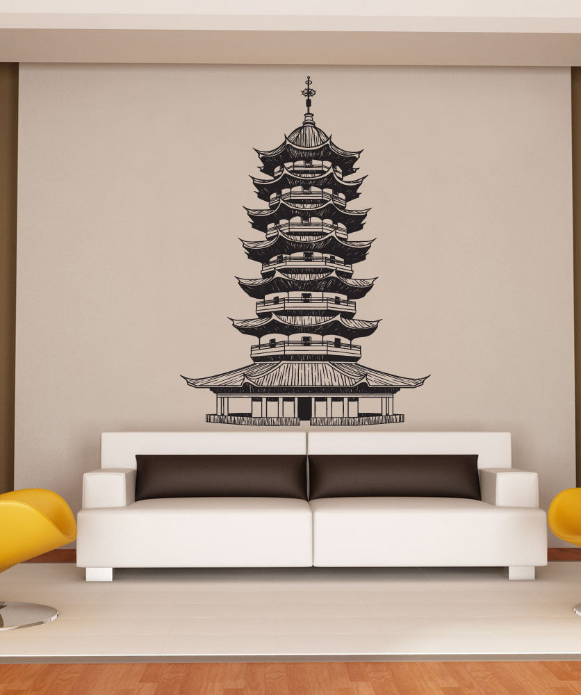 Vinyl Wall Decal Sticker Japanese Pagoda - Japanese wall decals