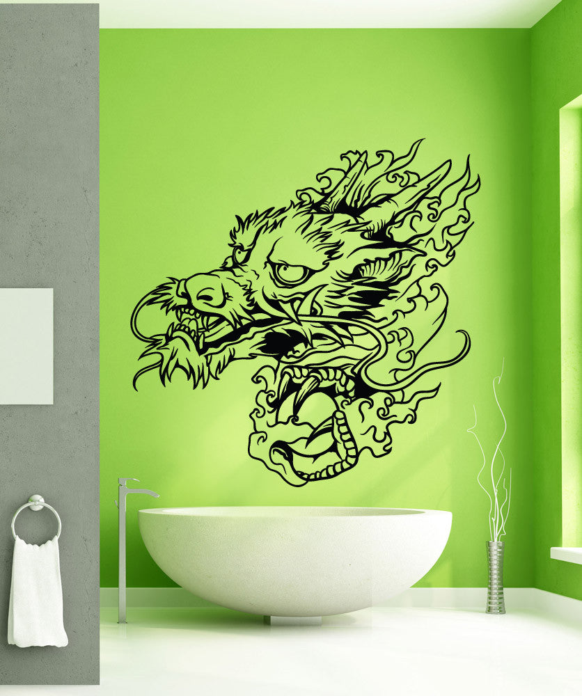 Vinyl Wall Decal Sticker Water Dragon Head #1443