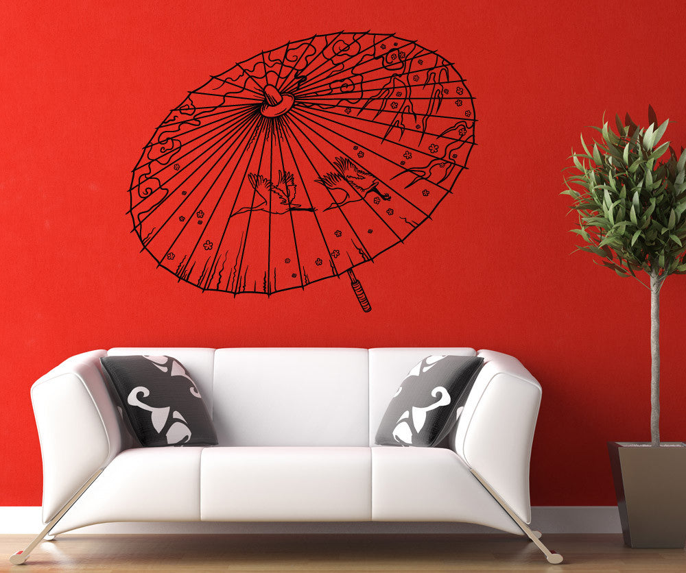 Vinyl Wall Decal Sticker Japanese Umbrella - Japanese wall decals