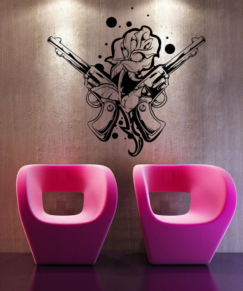 Vinyl Wall Decal Sticker Rose and Guns Tattoo #1466