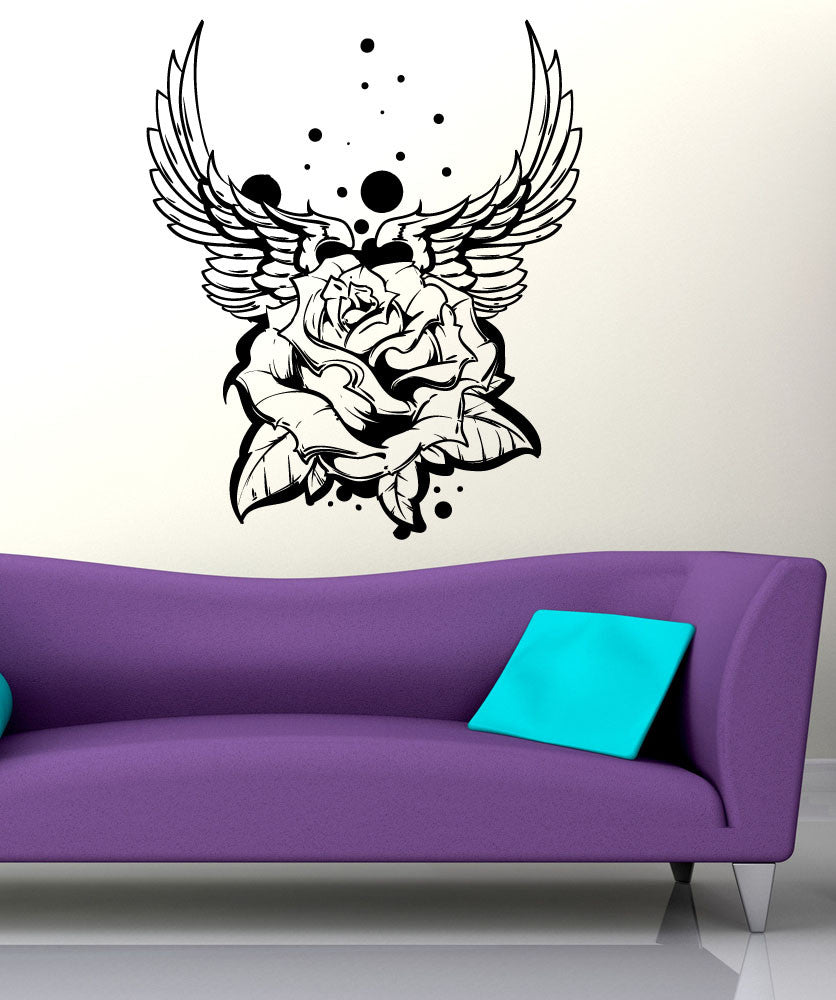 Vinyl Wall Decal Sticker Wings And Rose Tattoo #1467