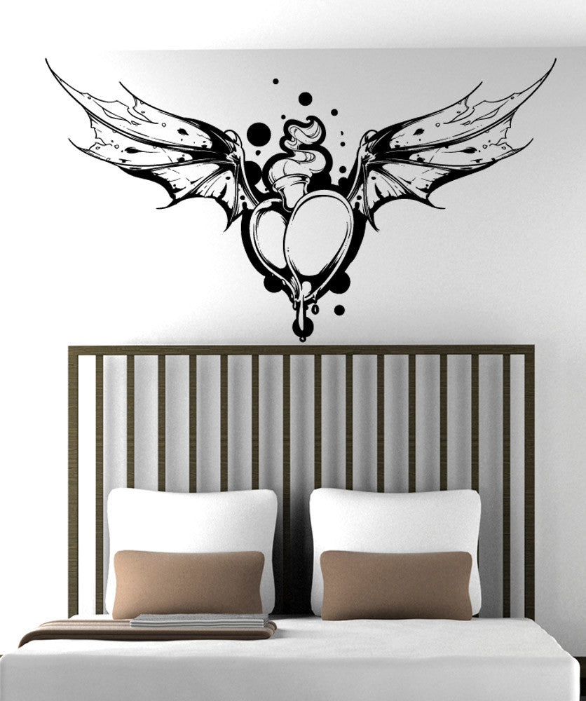 Vinyl Wall Decal Sticker Flaming Heart With Bat Wings #1471