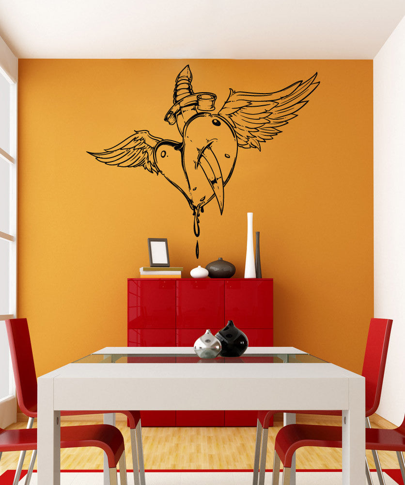 Vinyl Wall Decal Sticker Stabbed Heart With Wings #1472
