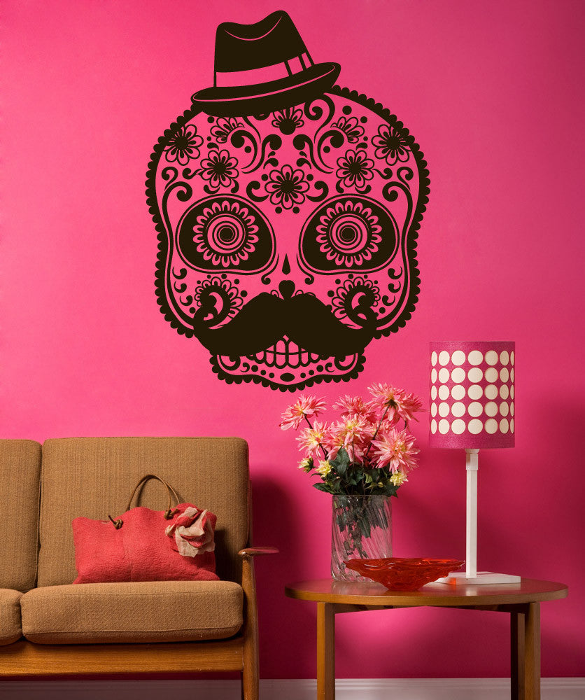Vinyl Wall Decal Sticker Mustache Sugar Skull #1490