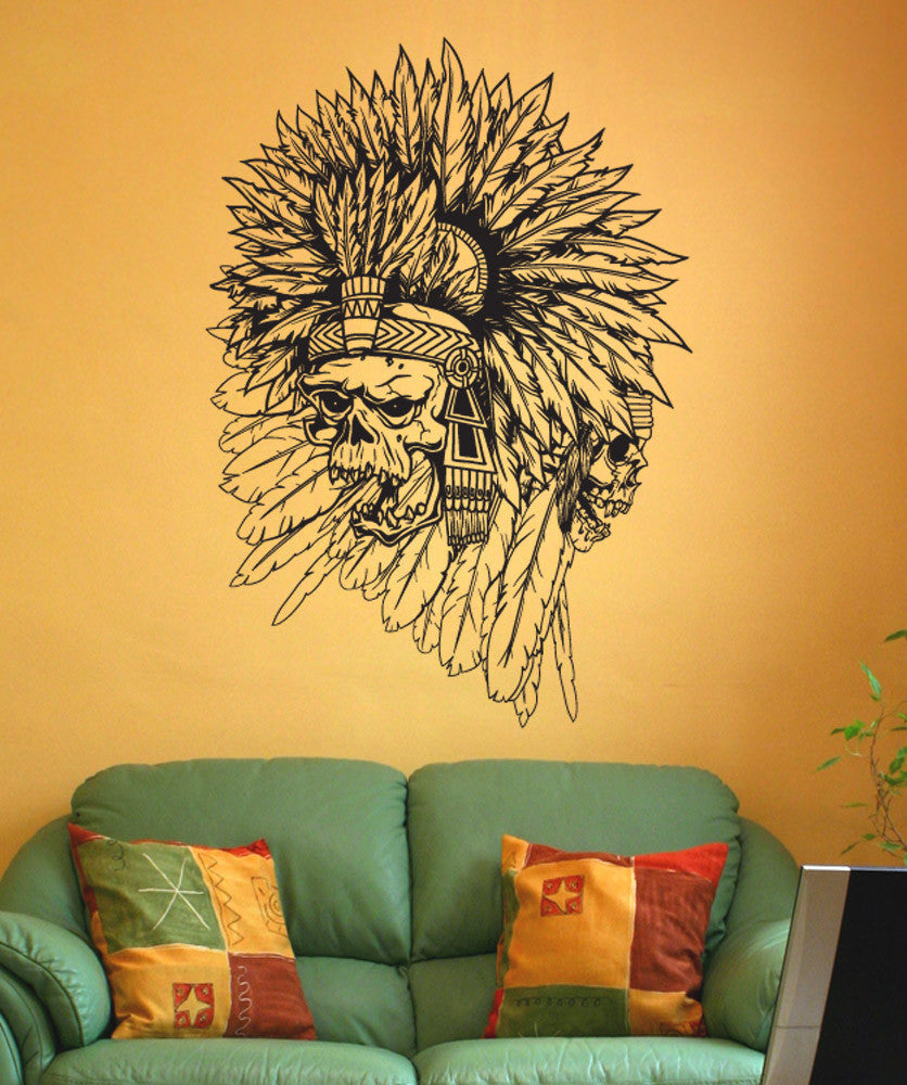 Vinyl Wall Decal Sticker Aztec Indian Skulls #1491
