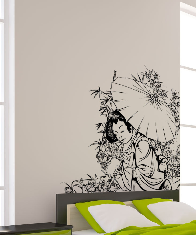 Vinyl Wall Decal Sticker Geisha In Garden #1496