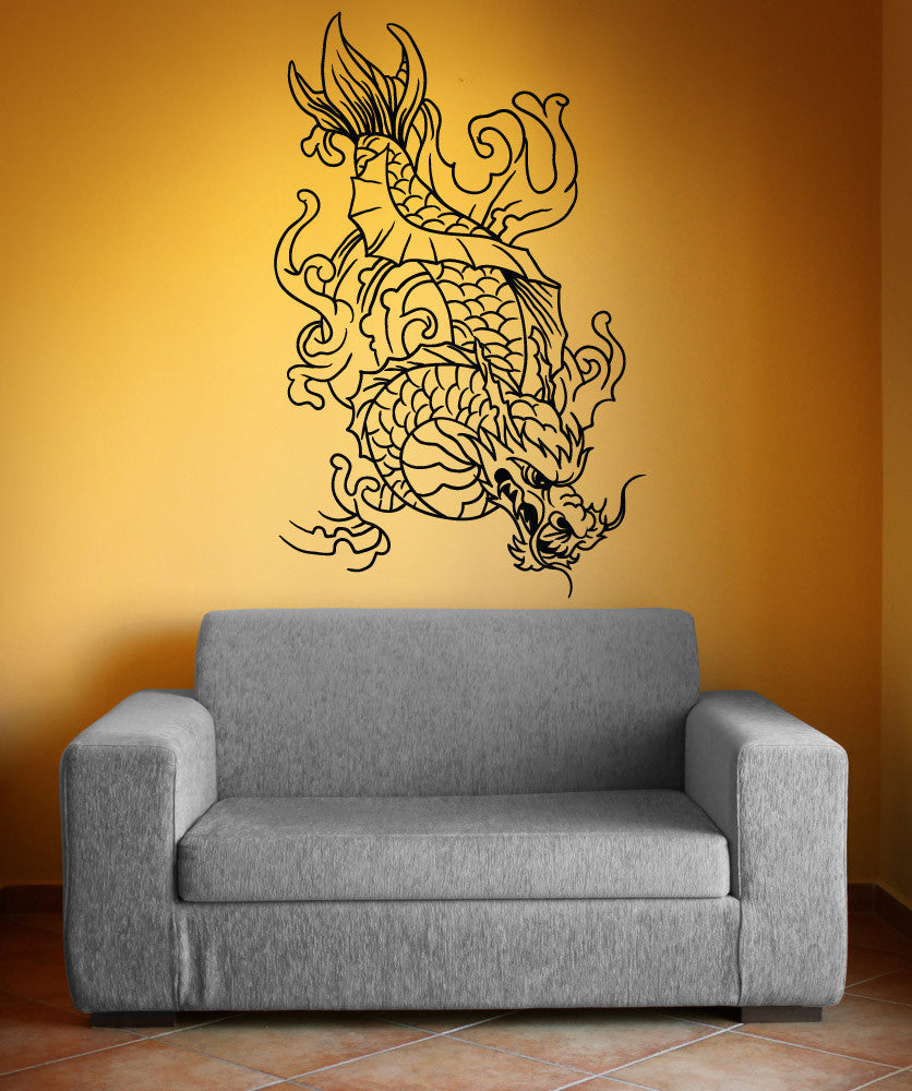 Vinyl wall decal sticker dragon koi fish 1499 for Koi fish wall stickers