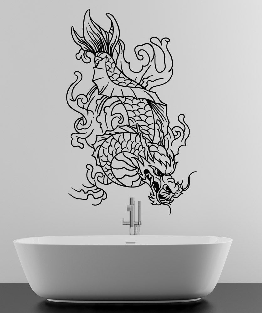 Vinyl wall decal sticker dragon koi fish 1499 amipublicfo Images
