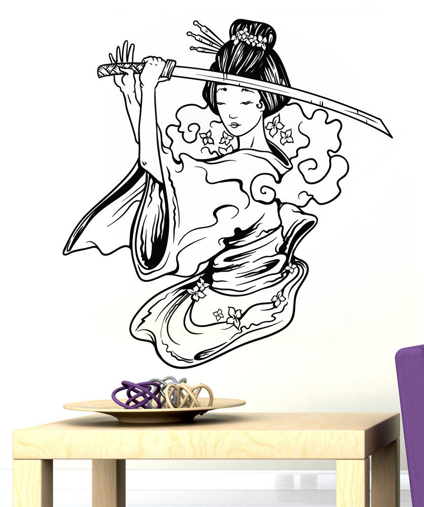 Vinyl Wall Decal Sticker Geisha With Sword #1500