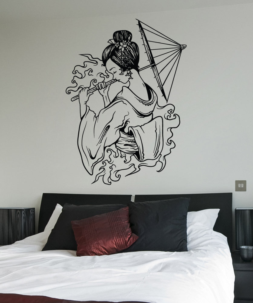 Vinyl Wall Decal Sticker Water Geisha With Umbrella #1502