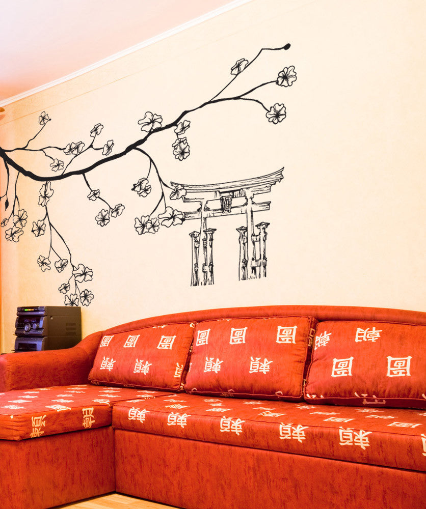 vinyl wall decal sticker cherry blossom branch and torii 1512