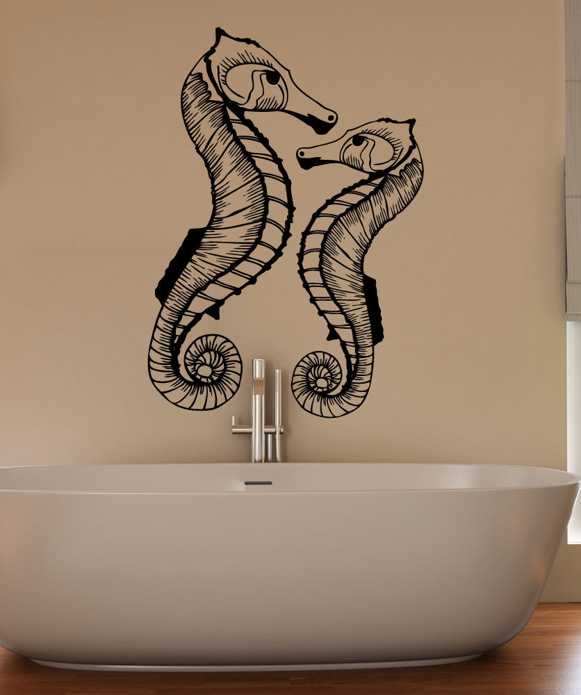 Vinyl Wall Decal Sticker Two Seahorses #1515