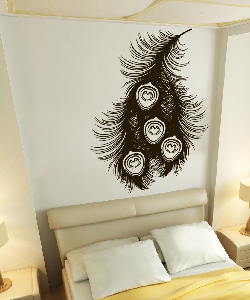 vinyl wall decal sticker peacock feathers 1528. Black Bedroom Furniture Sets. Home Design Ideas