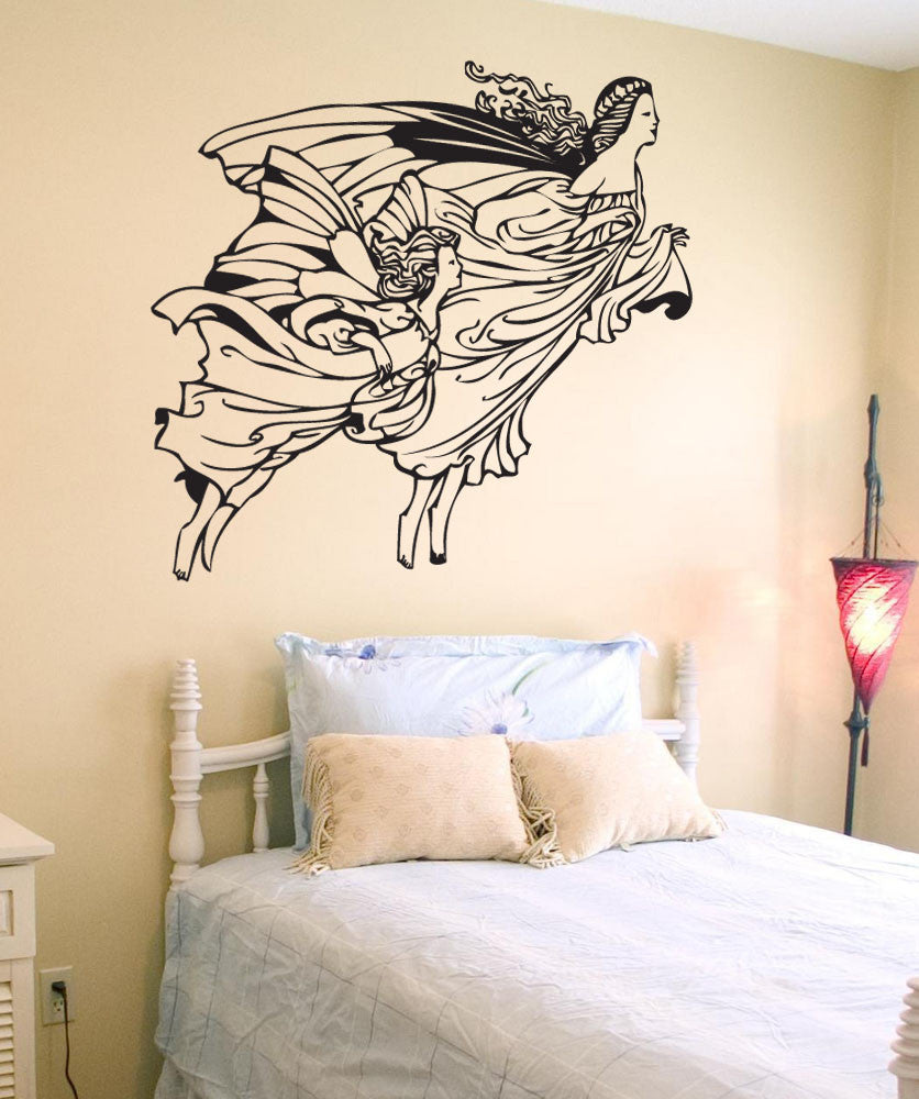Vinyl Wall Decal Sticker Mother Daughter Angels #1547