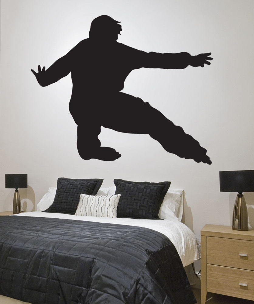 Vinyl Wall Decal Sticker Rollerblading Silhouette #1552