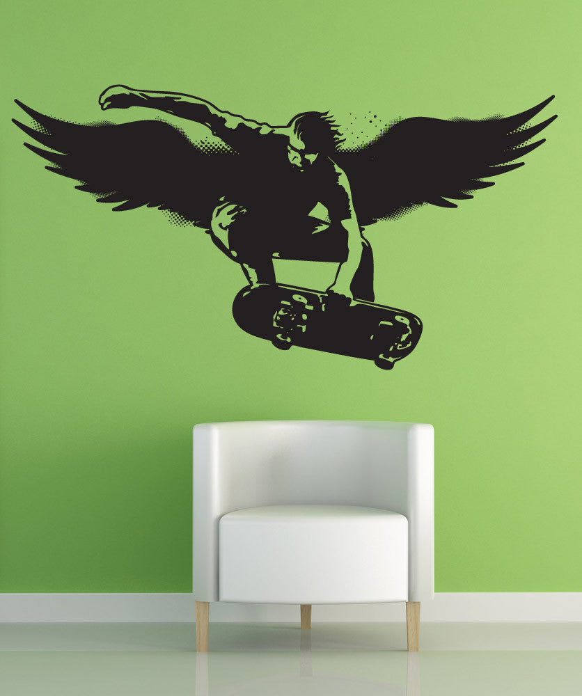 Vinyl Wall Decal Sticker Skater With Wings #1563