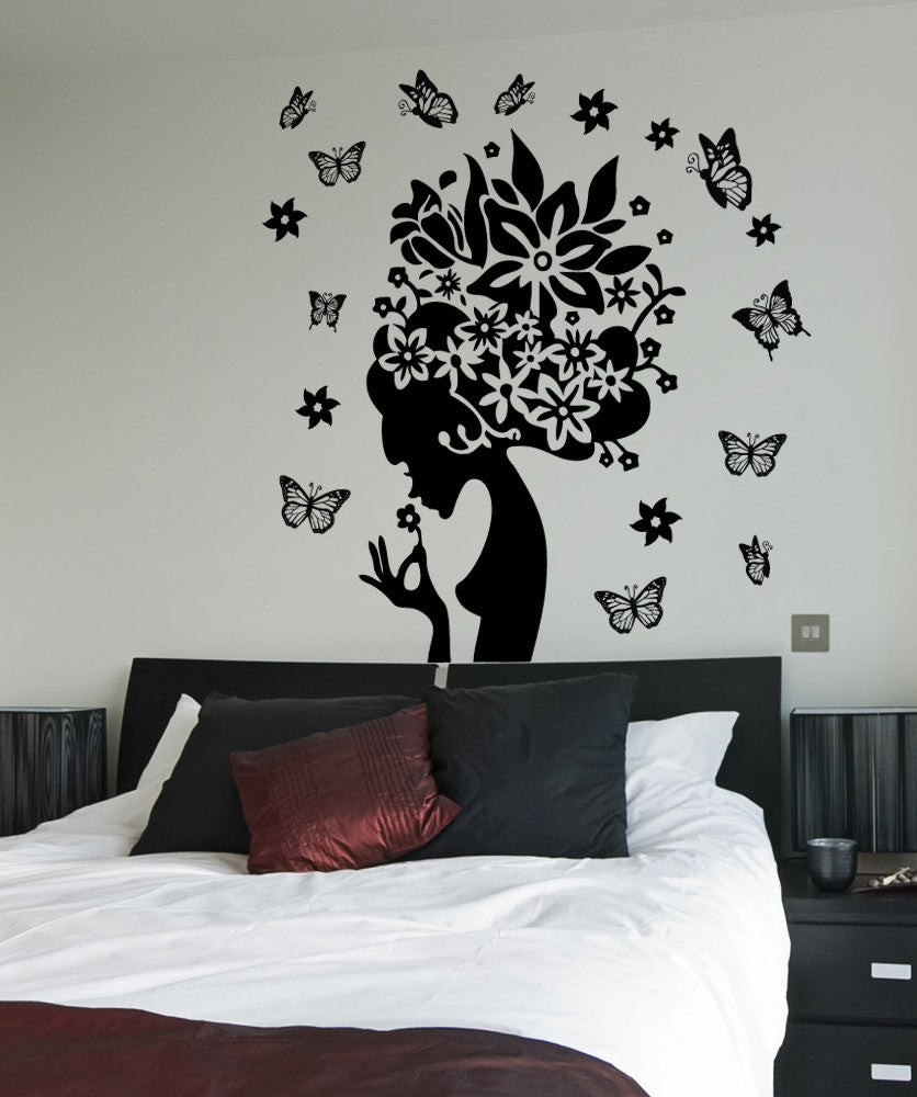 vinyl wall decal sticker butterfly lady 1569