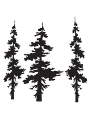Forest Pine Trees Combo Wall Decal. Living Room Decor. #186