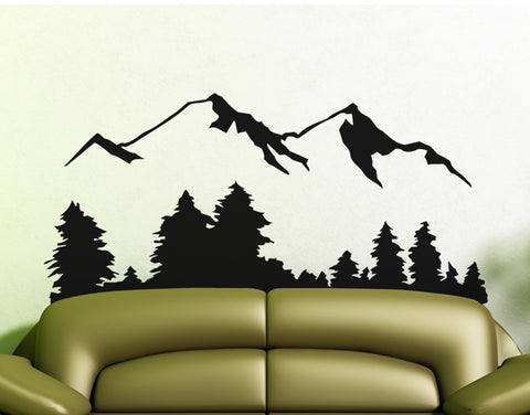 Snow Mountain View Wall Decal Sticker. Includes Forest Landscape. #194