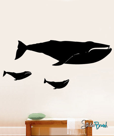 Vinyl Wall Decal Sticker Whale Baby Family #196