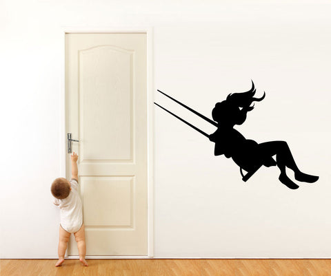 Vinyl Wall Decal Sticker Girl on Swing #OS_MG445