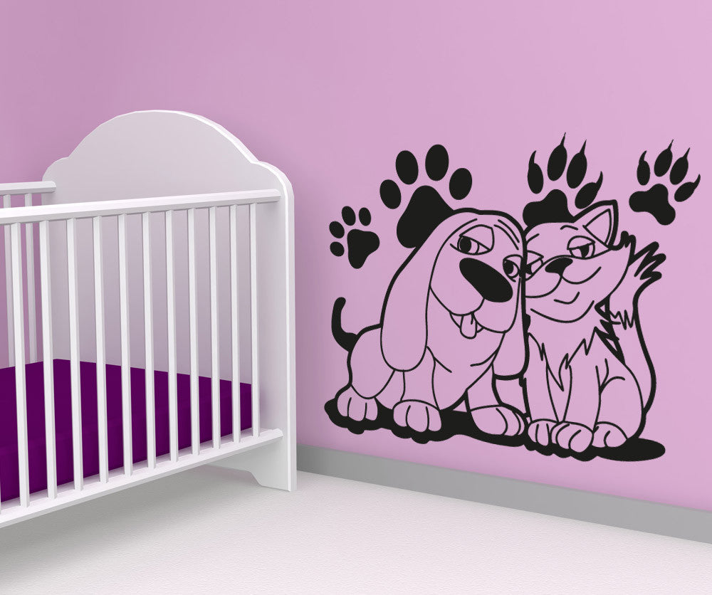 Vinyl Wall Decal Sticker Dog and Cat Best Friends #OS_AA606