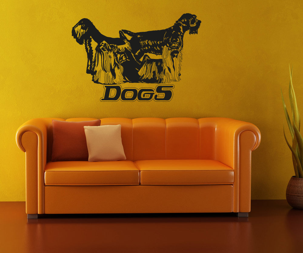 Vinyl Wall Decal Sticker Long Haired Dogs #OS_AA617