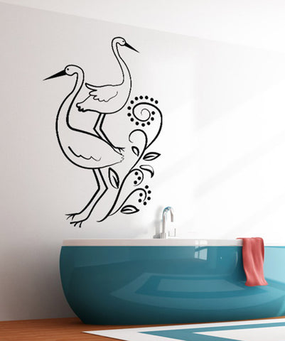 Vinyl Wall Decal Sticker Cranes with Vines #OS_DC141