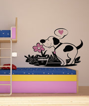 Vinyl Wall Decal Sticker Dog with Flower #OS_DC137