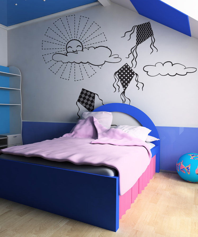 Vinyl Wall Decal Sticker Kites with the Sun #OS_DC271