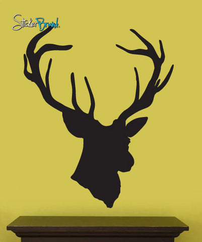 Hanging Deer Buck Head Silhouette Vinyl Wall Decal Sticker. #201