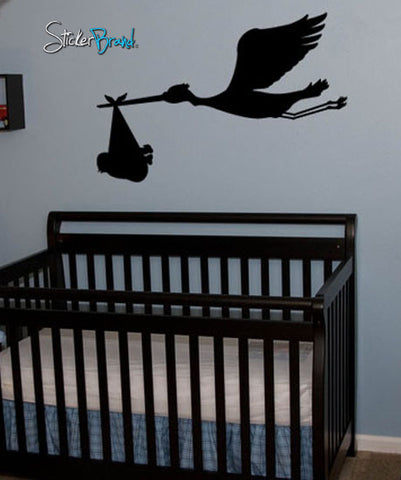 Vinyl Wall Decal Sticker Stork Bird with Baby on Board #212