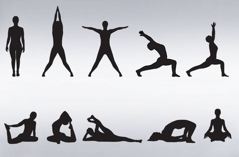 Vinyl Wall Decal Sticker Yoga Poses Silhouette Position #267
