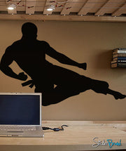 Vinyl Wall Decal Sticker Karate Flying Kick #225