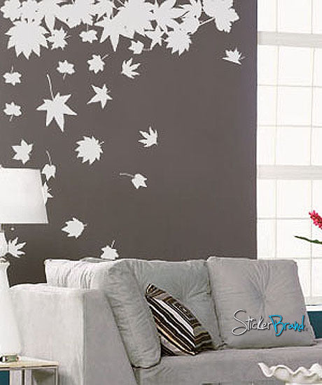Vinyl Wall Decal Sticker Big Autumn Tree Leaves Falling #243