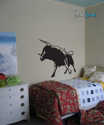 Vinyl Wall Decal Sticker Wild Bull Fight Stand #246