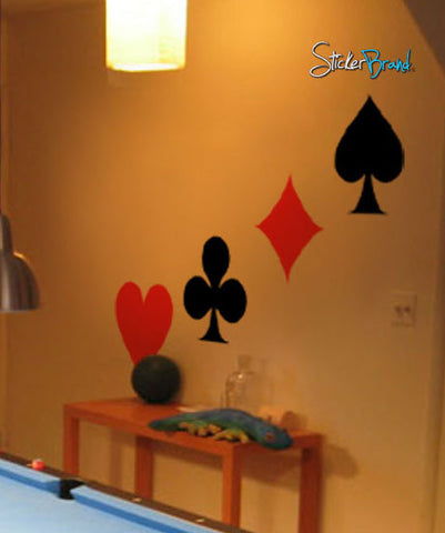 Deck of Cards Vinyl Wall Decal Sticker. Hearts, Diamonds, Spades, Clubs. #247