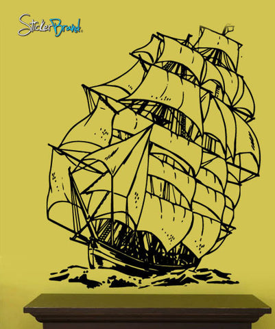 Vinyl Wall Decal Sticker Sailboat Pirate Ship #251