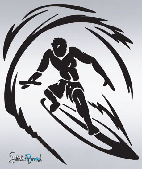 Vinyl Wall Decal Sticker Surfer Surfing Wave #254