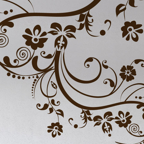 Vinyl Wall Decal Sticker Swirl Flower Floral Design #262